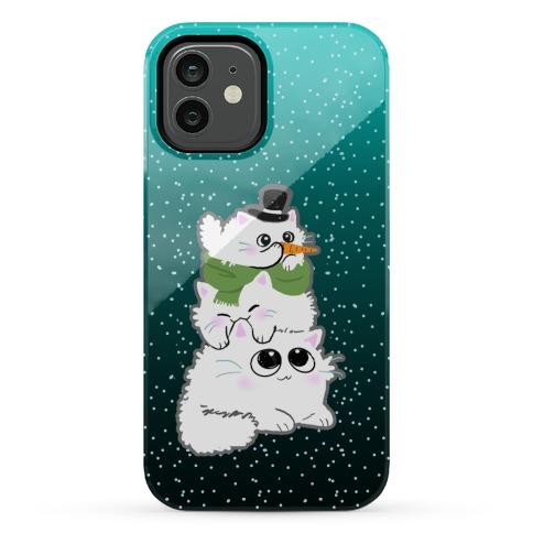 Cat Stack Snowman Phone Case