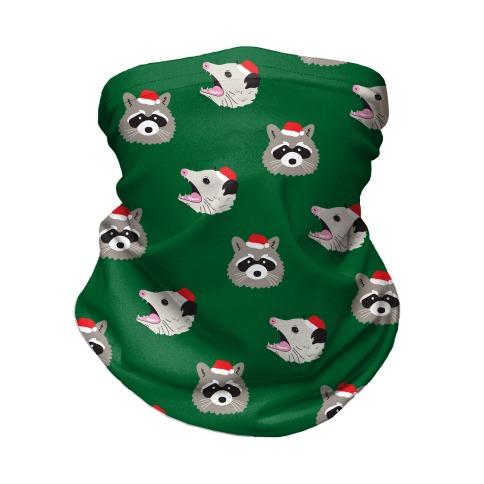 Christmas Raccoon and Opossum Pattern Neck Gaiter