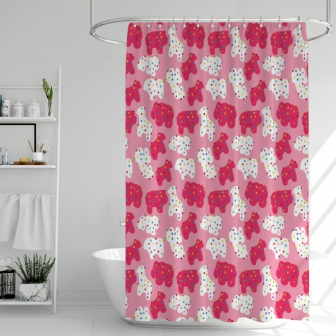 Frosted Animal Cracker Pattern Shower Curtain
