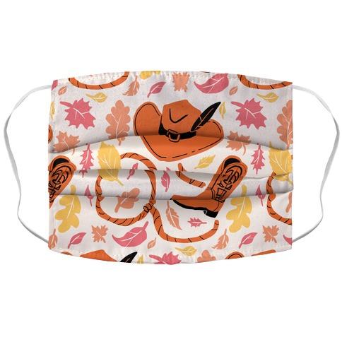 Fall Cowboy Pattern Accordion Face Mask