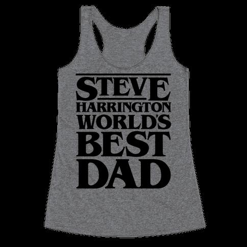 Steve Harrington World's Best Dad Parody Racerback Tank Top