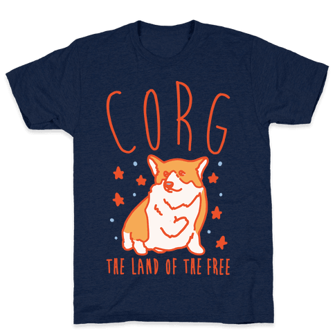 Corg The Land of The Free Corgi Parody White Print Mens T-Shirt