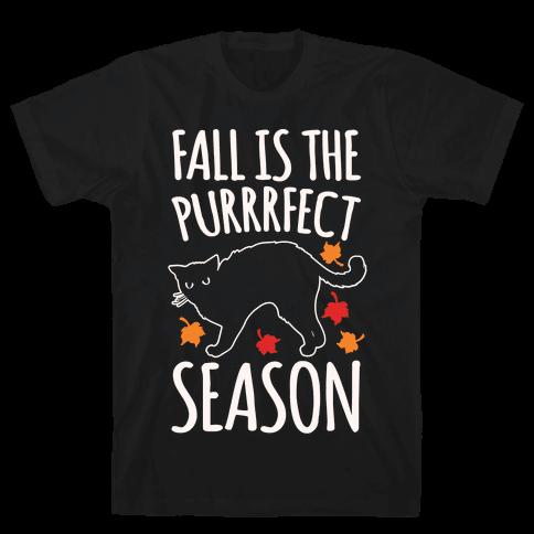 Fall Is The Purrrfect Season Cat Parody White Print Mens T-Shirt