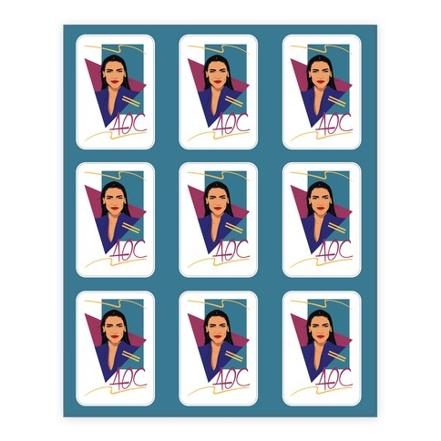 80s Style AOC Alexandria Ocasi-Cortez Parody Sticker Sheet Sticker and Decal Sheet