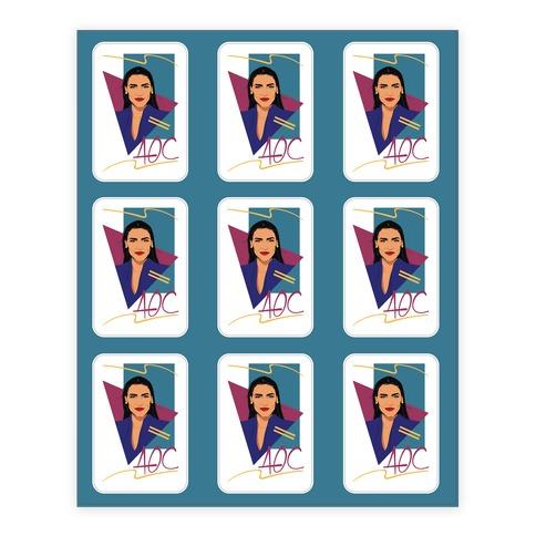 80s Style AOC Alexandria Ocasi-Cortez Parody Sticker Sheet Stickers and Decal Sheet