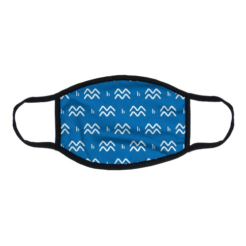 Aquarius Symbol Pattern Blue Flat Face Mask