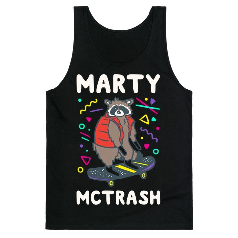 Marty McTrash Raccoon Parody White Print Tank Top