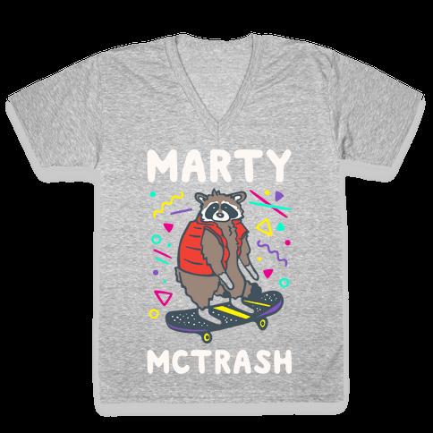 Marty McTrash Raccoon Parody White Print V-Neck Tee Shirt