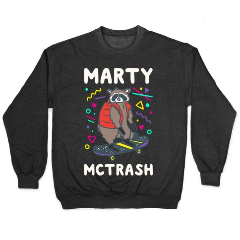 Marty McTrash Raccoon Parody White Print Pullover