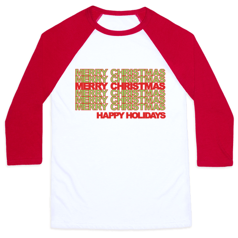 Merry Christmas Thank You Bag Parody Baseball Tee