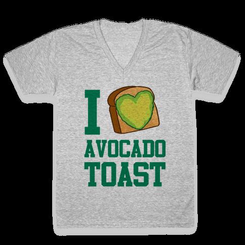 I Love Avocado Toast V-Neck Tee Shirt
