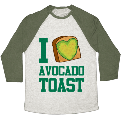I Love Avocado Toast Baseball Tee