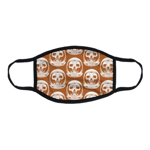 Skulls in Astronaut Pattern Rust Orange Flat Face Mask