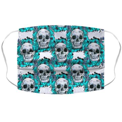 Skull on a Bed of Poppies Pattern Blue Face Mask Cover