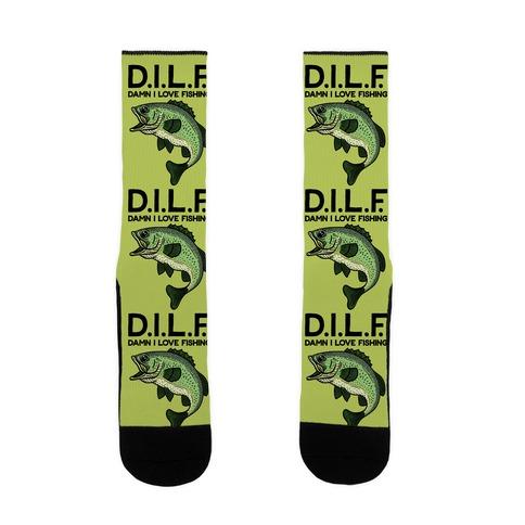 D.I.L.F. Damn I Love Fishing Sock