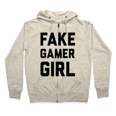 Fake Gamer Girl Zip Hoodie