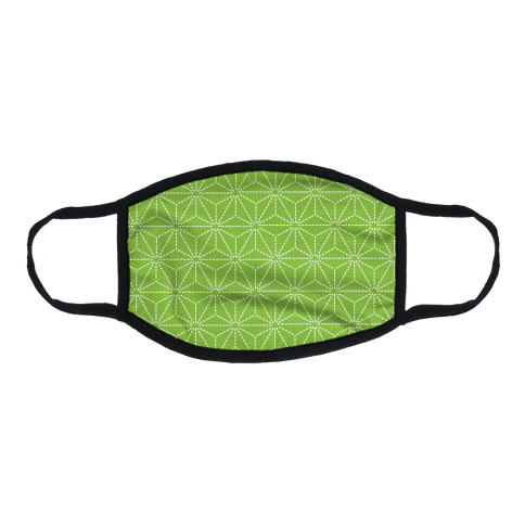 Sashiko Asanoha (Bright Green) Flat Face Mask