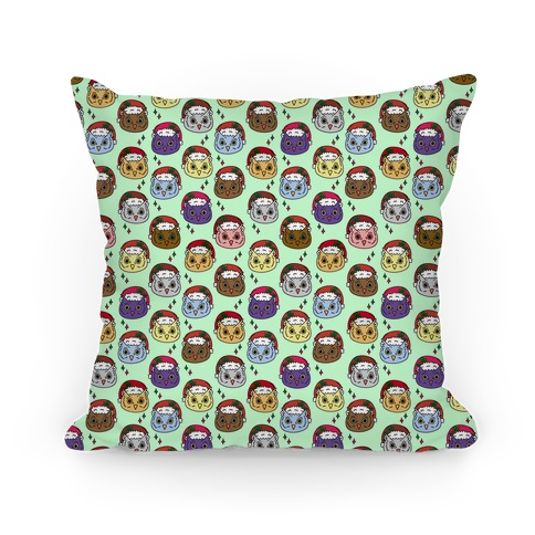 Cute Santa Owl Pattern Pillow