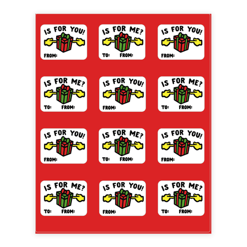 Is For Me Meme Holiday Gift Tags Sticker Sheet Sticker and Decal Sheet