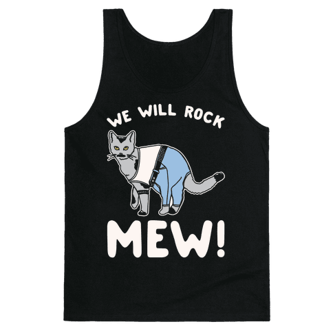We Will Rock Mew Parody White Print Tank Top
