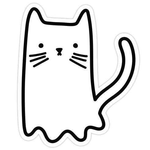 Ghost Cat Die Cut Sticker