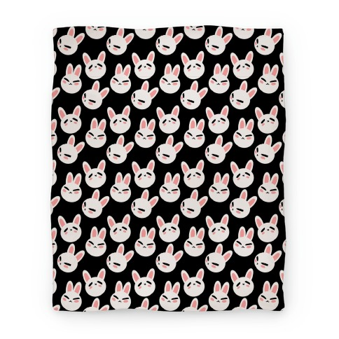 BunBun Pattern Black Blanket