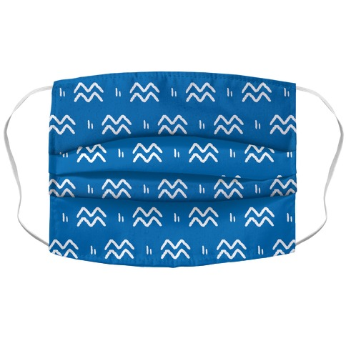 Aquarius Symbol Pattern Blue Face Mask