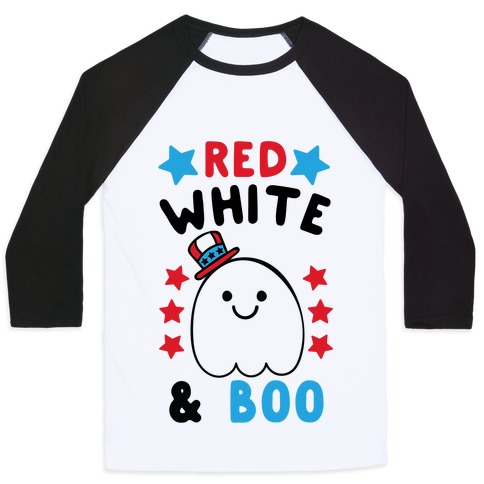 Red, White and Boo Baseball Tee