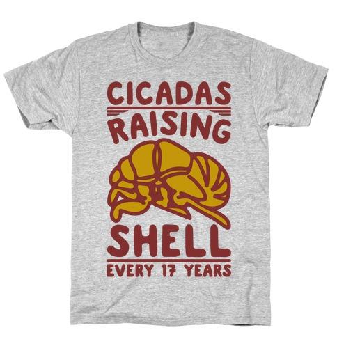 Cicadas Raising Shell White Print T-Shirt