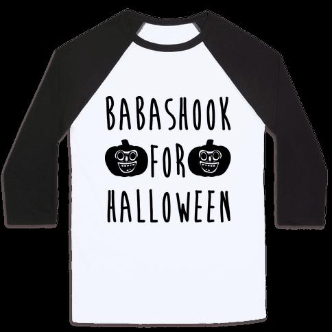 Babashook For Halloween Parody White Print Baseball Tee