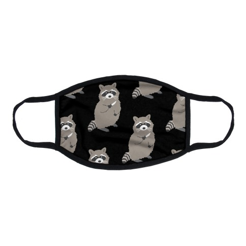 Raccoon With Knife Flat Face Mask