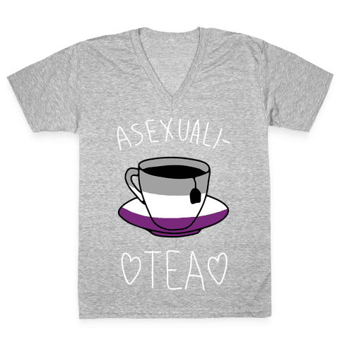 Asexuali-TEA V-Neck Tee Shirt
