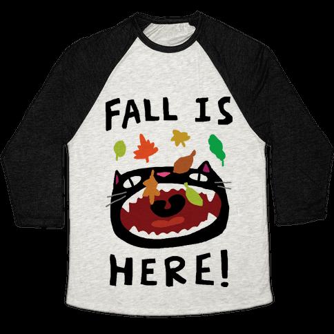Fall Is Here Cat Baseball Tee