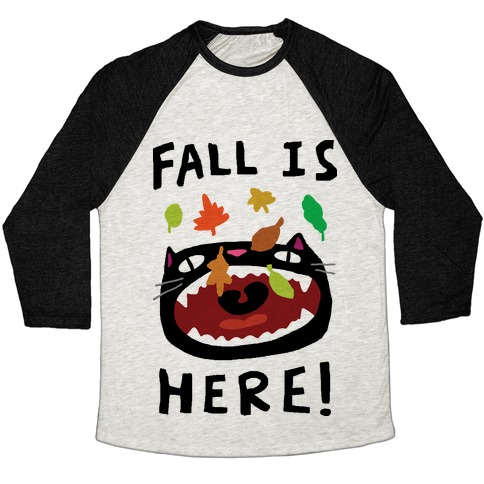 Fall Is Here Cat Baseball Tee