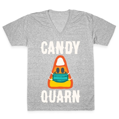Candy Quarn White Print V-Neck Tee Shirt