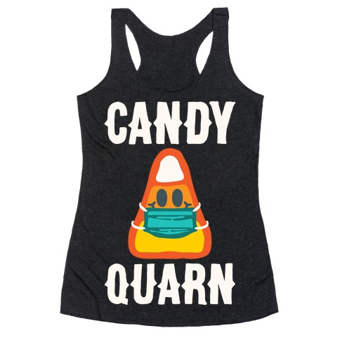 Candy Quarn White Print Racerback Tank Top