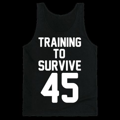 Training To Survive 45 White Print Tank Top