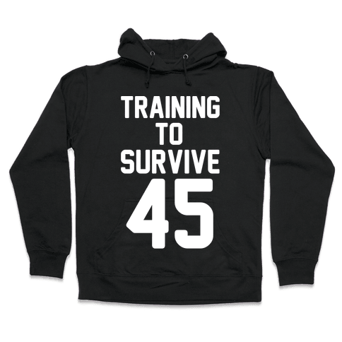 Training To Survive 45 White Print Hooded Sweatshirt