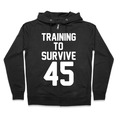 Training To Survive 45 White Print Zip Hoodie