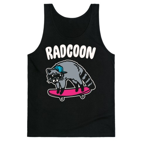 Radcoon Rad Raccoon Parody White Print Tank Top