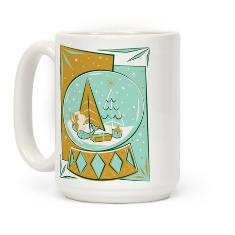 Mid-Century Modern Mermaid Holiday Snow Globe Coffee Mug