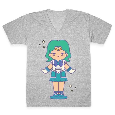 Sailor Neptune Pocket Parody V-Neck Tee Shirt