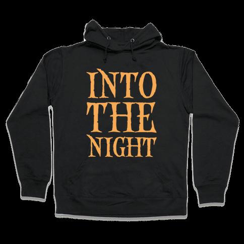 Into The Night Parody White Print Hooded Sweatshirt