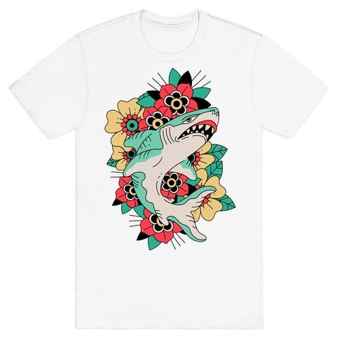 Floral Shark Traditional Tattoo T-Shirt