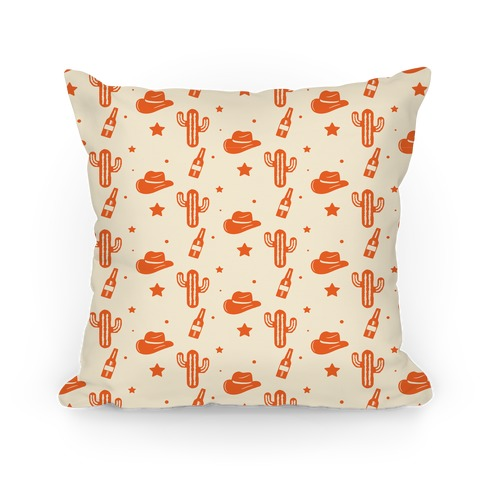 Cowboy Hats & Cacti Pattern (Red) Pillow