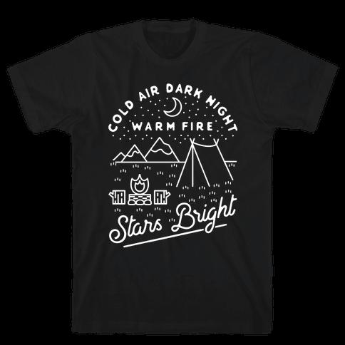 Cold Air Dark Night Warm Fire Stars Bright White Mens T-Shirt