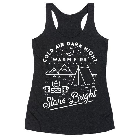 Cold Air Dark Night Warm Fire Stars Bright White Racerback Tank Top