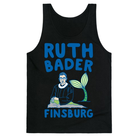 Ruth Bader Finsburg Mermaid Parody White Print Tank Top