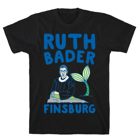 Ruth Bader Finsburg Mermaid Parody White Print T-Shirt