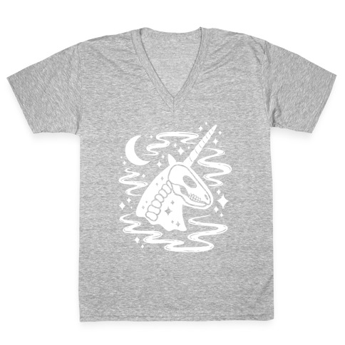 Spooky Ghost Unicorn V-Neck Tee Shirt